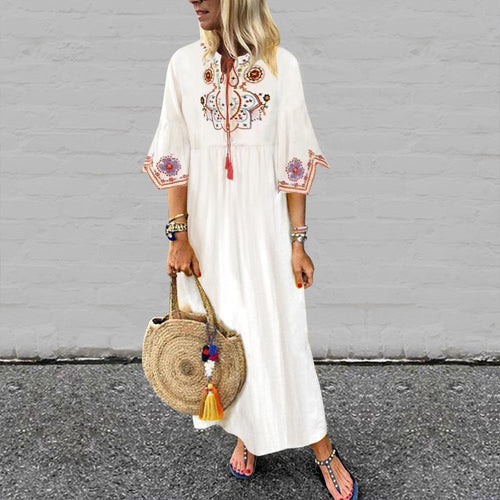 Vintage Ethnic Embroidered Lace-Up Cotton Dress