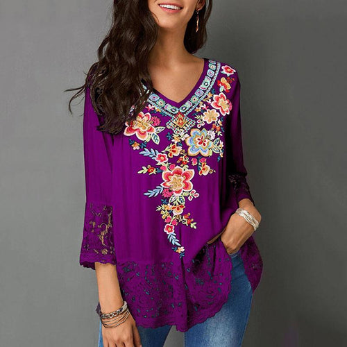 Women's Floral Embroidered V-Neck Lace Panel Top