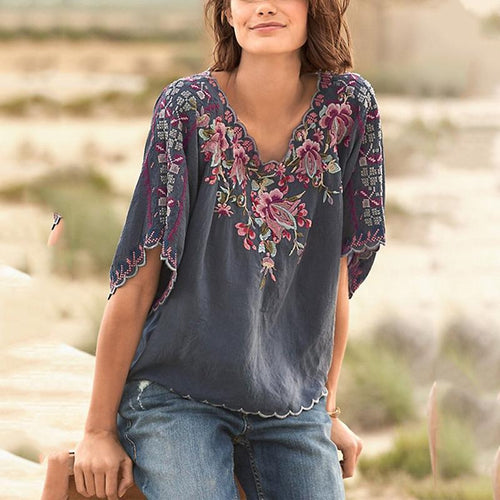 V Neck Floral Casual Short Sleeve Shirts