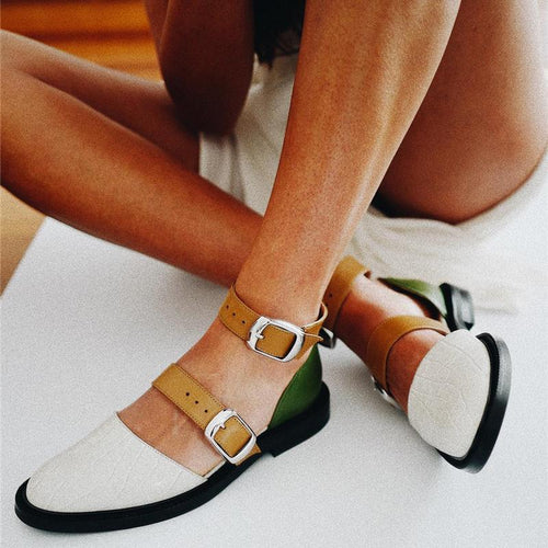 JOJORUBY Comfortable Flat Bottom Round Hollow Color Matching Sandals