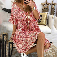Load image into Gallery viewer, Boho Floral Pattern Bell Sleeve Dress