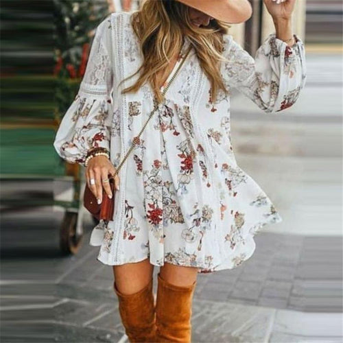 Women's V-Neck Printed Long Sleeve Loose Dresses