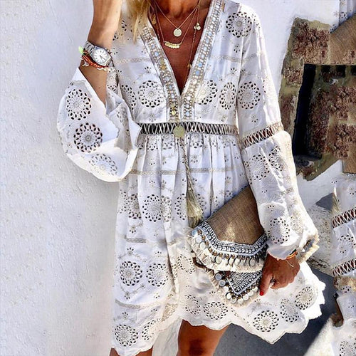 Fashion V Neck Hollow Out Floral Pattern Long Sleeve Vacation Casual Mini Dress
