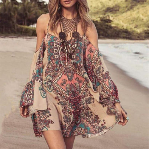 Women's Sling Printed Off-Shoulder Long Sleeve Dresses