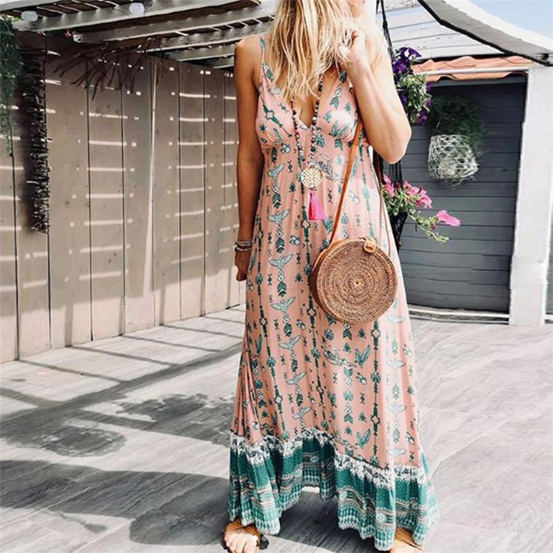 Sexy Sleeveless Sling Print Stitching Holiday Dress