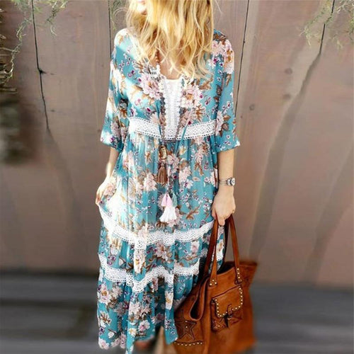 Women's V-Neck Lace Stitching Print Dress