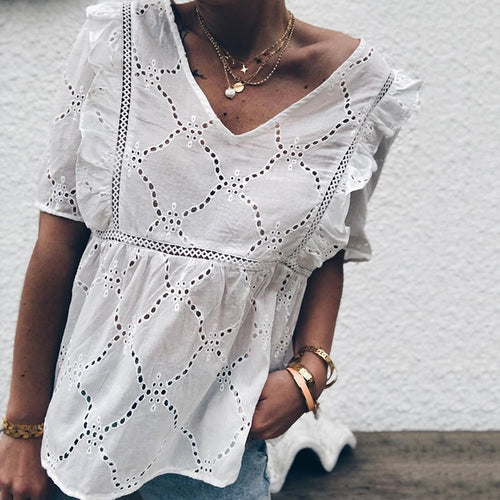 Casual V Neck Hollow Out T-Shirt