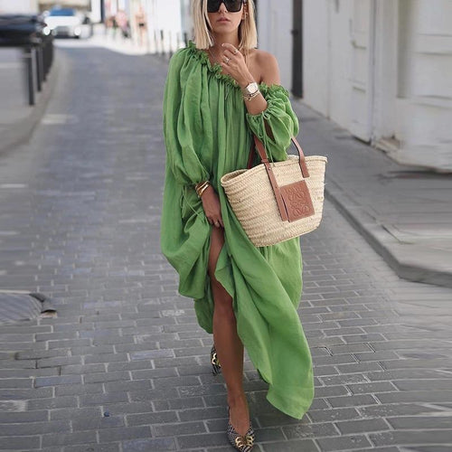 Classy Off-Shoulder Pure Colour Long Sleeve Casual Maxi Dress