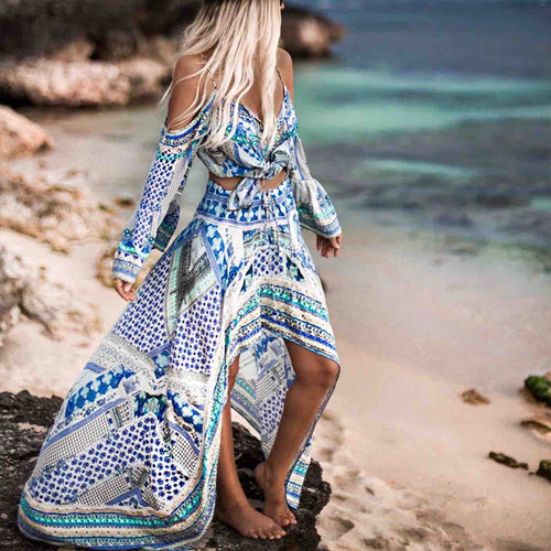 Bohemian Printed Colour Boat Neck High-Waist Loose Dress