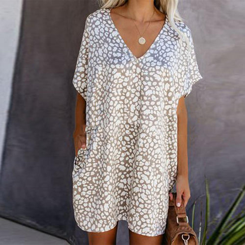 Deep V Neck Printed Colour Loose Expansion Casual Mini Dress