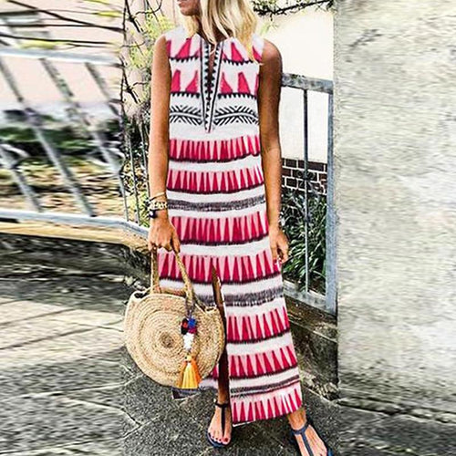 Sweet V Neck Printed Colour Sleeveless Elastic Casual Maxi Dress