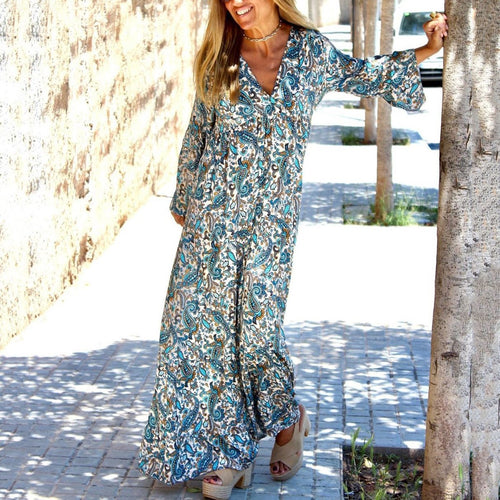 Bohemian V Neck Floral Pattern Long Sleeve Loose Casual Maxi Dress