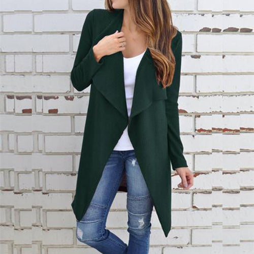 Casual  Fold Over Collar  Plain Cardigan