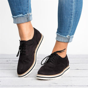 Large Size Women Comfort Low Heel Lace-Up Daily Loafers