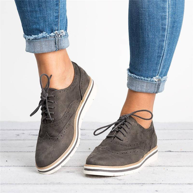 716d2c1a8b ... Load image into Gallery viewer, Large Size Women Comfort Low Heel Lace-Up  Daily ...
