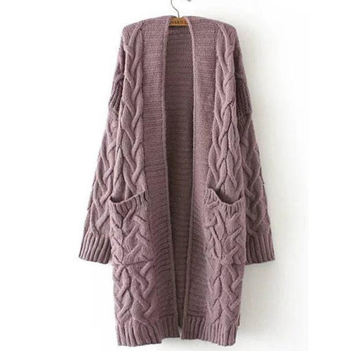 Knit Embossed Twist Pattern Long Sleeve Cardigan
