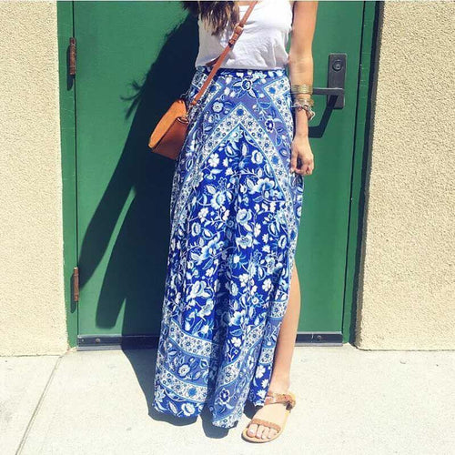 Fashion Blue And White Porcelain Printing High Waist Fork Skirt