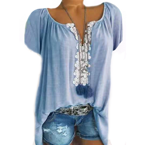 V Neck Patchwork Lace Plain Blouses