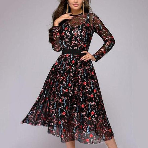 Round Neck  See-Through  Floral Hollow Out Skater Dress