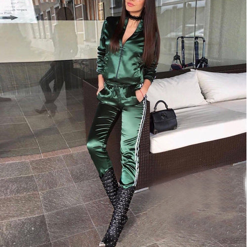 Fashion Pure Color Long Sleeve Two Pieces Suit