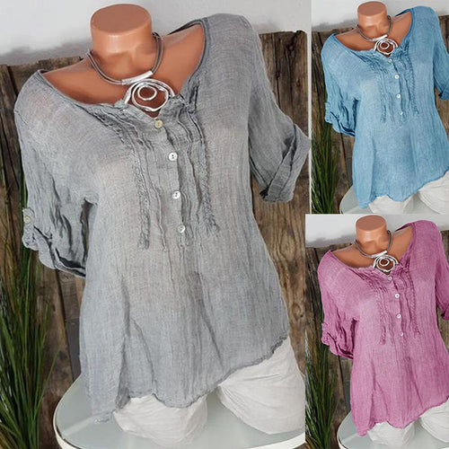 Round Neck Button Short Sleeve Plain Blouses