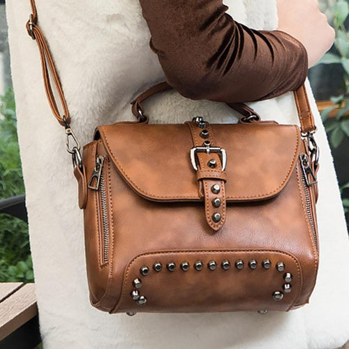 Rivet Double Pull Shoulder Slung Mobile Handbag