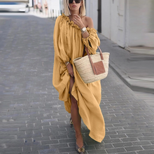 Load image into Gallery viewer, Classy Off-Shoulder Pure Colour Long Sleeve Casual Maxi Dress