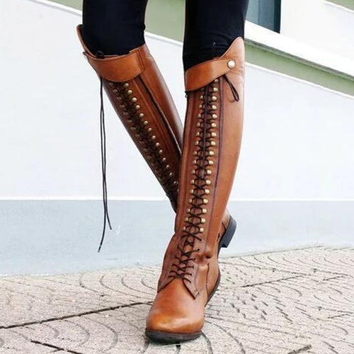 Retro Knee Rivet With Thick Heel Boots