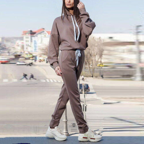 Fashion Pure Color Two   Pieces Of An Irregular Hooded Hoodie Suit
