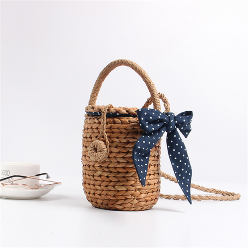 Straw scarf decorative woven crossbody bag