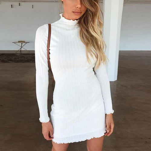 Fashion High Collar Sexy Long Sleeve Knitted Sweater Mini Bodycon Dress