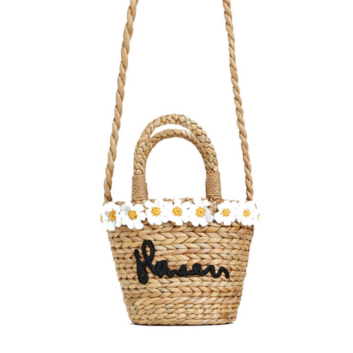 Small daisy wrapped woven straw messenger bag