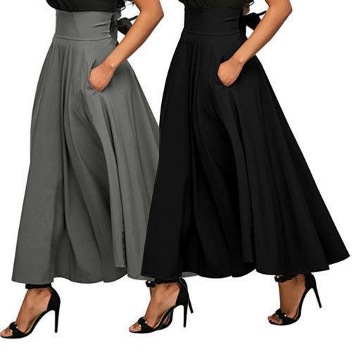 Fashion Pure Colour Swing Waist Skirt