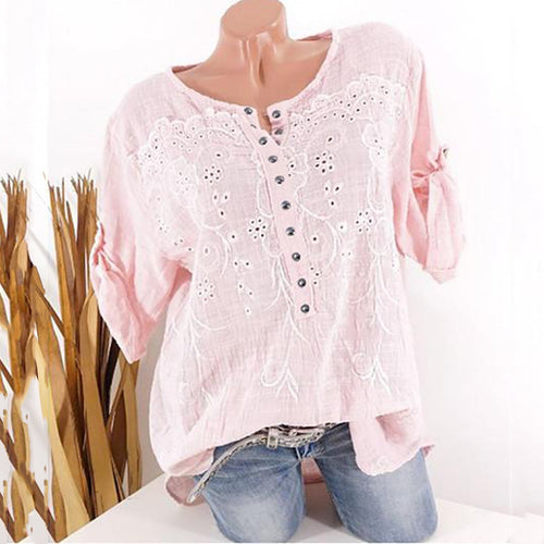 Casual Hollow Out Pure Color Blouse