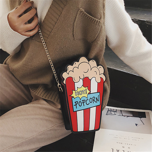 Cute mini popcorn chain messenger bag