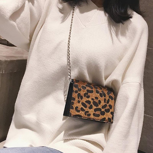 New Fashion Wild Retro Leopard-Printed Chain Diagonal Shoulder Bag Handbag