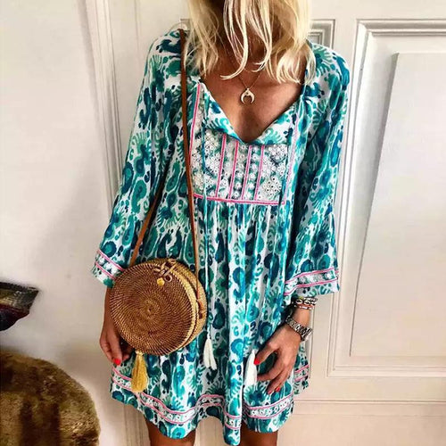 Bohemian V Neck High-Waist Long Sleeve Printed Colour Casual Dress