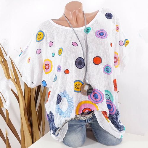 Round Neck Multi-Color Polka Dot Blouses