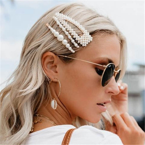 Fashion Simple Pearl Metal Hair Clip