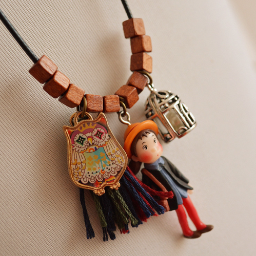 Little girl fringed owl birdcage pendant sweater chain