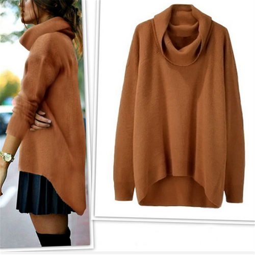 Winter fashion irregular turtleneck sweater