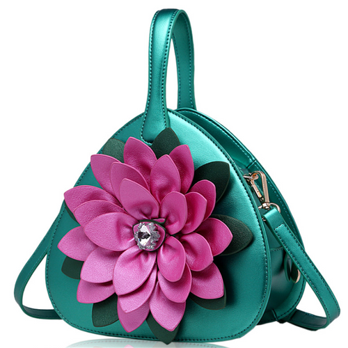Ethnic style diamond flower contrast color crossbody bag