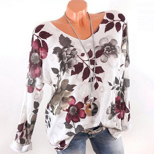 V Neck  Loose Fitting  Print Long Sleeve T-Shirts
