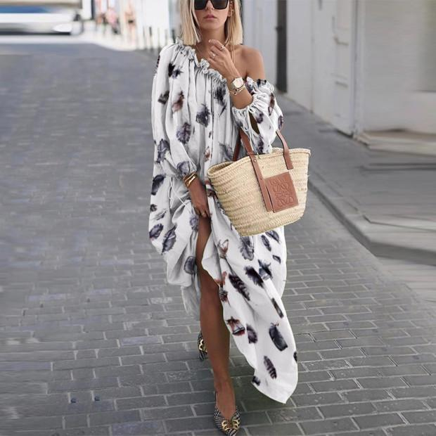 Sexy Open Shoulder Long Sleeve Printed Loose Casual Maxi Dress