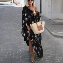 Load image into Gallery viewer, Sexy Open Shoulder Long Sleeve Printed Loose Casual Maxi Dress