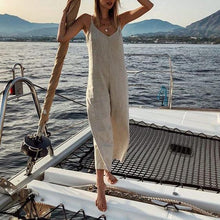 Load image into Gallery viewer, Loose Casual V-Neck Cotton And   Linen Jumpsuit