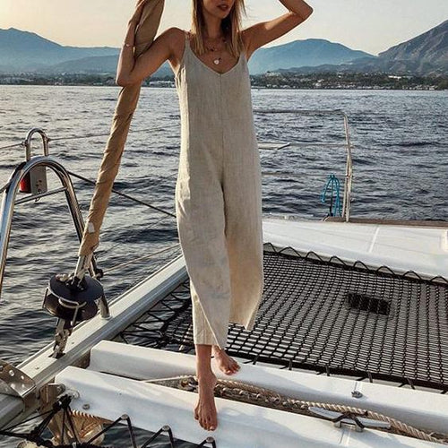 Loose Casual V-Neck Cotton And   Linen Jumpsuit