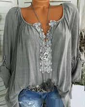 Load image into Gallery viewer, Autumn Spring Summer  Polyester  Women  V-Neck  Decorative Lace  Plain  Long Sleeve Blouse