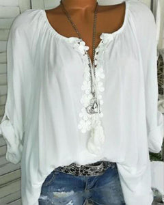 Autumn Spring Summer  Polyester  Women  V-Neck  Decorative Lace  Plain  Long Sleeve Blouse