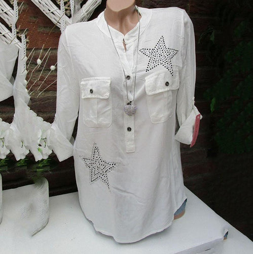 Women's Solid Color Five-Pointed Star Rhinestone Pocket Blouses